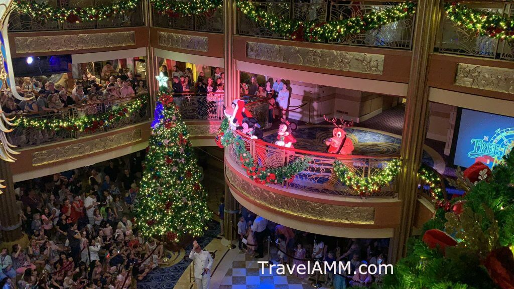 Disney Dream Atrium after the tree lighting ceremony