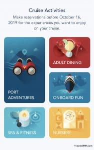Screenshot of Cruise Activities Section for online booking time
