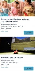 Bibbidi Bobbidi Boutique and Golf Simulator sign on screens