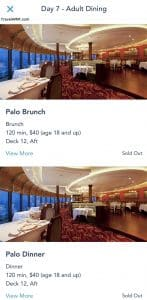 Sold out screens for Palo Brunch and Dinner